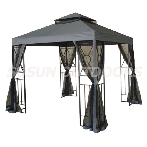 double roofs garden gazebo with netting